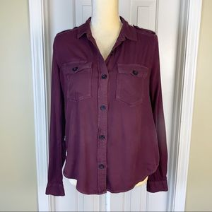 Mudd Burgundy 100% Rayon Button Up Top Size S